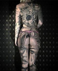 Beautiful Portrait Piece http://tattooideas247.com/portrait-legs/