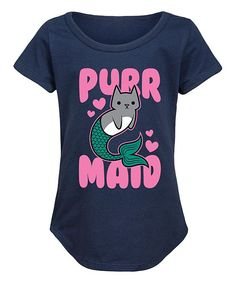 Take a look at this Navy 'Purrmaid' Curved-Hem Tee - Girls today! Cute Outfits For Kids, Cute Kids, Mermaid Cat, We Wear, How To Wear, The Little Mermaid, Cotton Tee, My Girl, Bodysuit