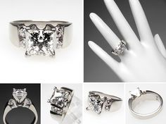Men's 5 Carat Diamond Ring | Estate Engagement Ring 1.5 Carat Leo Princess Cut Diamond Solid 14K ...