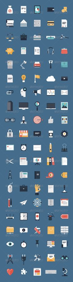 Business and Finance Flat Icons Big Set  -  EPS Template • Only available here! →…