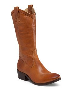 Leather Tall Pull On Boot