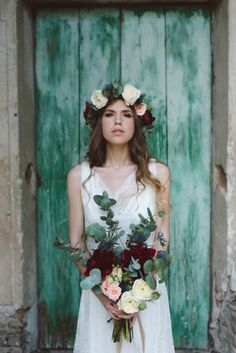 Cool Wedding Inspiration   Margherita Calati Photography   Bridal Musings Wedding Blog 17 bride with deep red poeny bouquet and floral crown