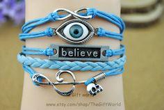 Infinity bracelet Music bracelet Eye charm by TheGiftWorld on Etsy, $4.99 Personalized fashion handmade leather bracelet, best holiday gift.