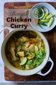 Soul satisfying, mild Bengali Chicken Curry (Murgi Jhol) and also a gorgeous cookbook GIVEAWAY! Fall Recipes, Indian Food Recipes, Asian Recipes, New Recipes, Holiday Recipes, Healthy Recipes, Ethnic Recipes, Marinated Chicken, How To Squeeze Lemons