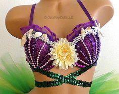 Ariel Little Mermaid inspired Rave Bra ~  Purple bra featuring Purple glitter…