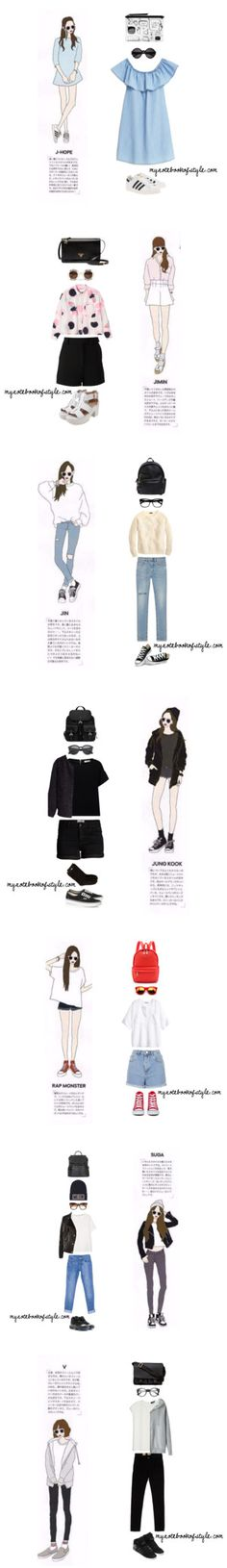 BTS ideal girl fashion by the92liner on Polyvore featuring мода, MANGO, adidas Originals, Monki, Yves Saint Laurent, bts, BangtanBoys, bangtansonyeondan, Jhope and Wildfox