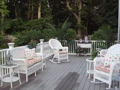 grey trex, white railing
