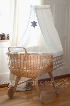 """A bassinet, bassinette, or cradle is a bed specifically for babies from birth to about four months, and small enough to provide a """"cocoon"""" that small babies find comforting. Baby Bedroom, Nursery Room, Nursery Decor, Girl Cribs, Baby Cribs, Baby Zimmer, Baby Bassinet, Nursery Neutral, Kid Spaces"""