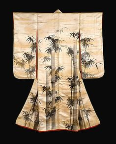 Overrobe (Uchikake) with Bamboo  Gion Nankai  (Japanese, 1677–1751).  Period: Edo period (1615–1868). Date: first half of the 18th century. Culture: Japan. Medium: Ink and gold powder on silk satin. Dimensions: Overall: 64 3/4 x 48 7/8 in. (164.5 x 124.2 cm).