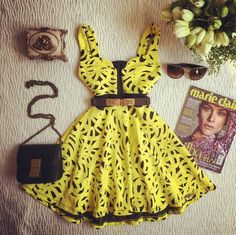 2016 Women's Fashion Party Dress Yellow Black lace Printed Swertheart Bridesmaid Gown Dress Prom SALE