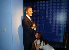 Barack O-mama In This Picture: Photo of girl with obama wax figure