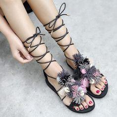 GET $50 NOW   Join RoseGal: Get YOUR $50 NOW!http://www.rosegal.com/sandals/flat-heel-pompom-sandals-1057975.html?seid=4514413rg1057975