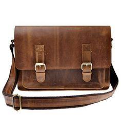 Zlyc Men's Vintage Retro Handmade Leather Briefcase 15.6-inch Laptop Bag Leather #ZLYC #MessengerShoulderBag