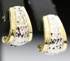 VINTAGE 14K SOLID TWO TONE GOLD & DIAMOND CUT DESIGN ESTATE EARRINGS ~ GORGEOUS #Unbranded #Stud