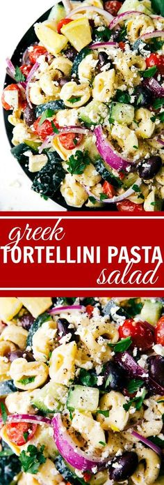 Easy Greek tortellini pasta salad with a healthier (no mayo) dressing. Feta, cucumbers, cherry tomatoes, red onions, olives, tortellini.