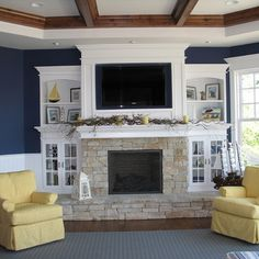 Fireplace With Bookcases Design Ideas, Pictures, Remodel, and Decor - page 3 - For Den Remodel