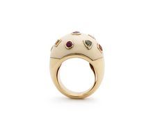 Mammoth Pop Art Ring 18ct yellow gold, mammoth ivory, fancy sapphires