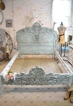 Buildings Discover French Bed Painted Cottage Shabby Chic Rococo Bed Aqua Queen / King Romantic Bed Painted Cottage Shabby French Aqua Queen / by paintedcottages Rose Shabby Chic, Cottage Shabby Chic, Shabby Chic Mode, Shabby Chic Bedrooms, French Cottage, Shabby Chic Style, Shabby Chic Furniture, Shabby Chic Decor, Painted Furniture