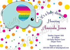 Baby Shower Printables, Baby Shower Themes, Baby Shower Invitations, Different Fonts, Party Needs, Cute Elephant, Digital Invitations, For Your Party, Invite