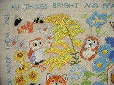 vintage 1970 crewel embroidery forest animals, via http://www.etsy.com/people/pinkbeatrice/favorites