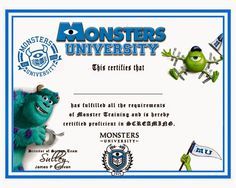 Christiansen Family- Our family blog: Crews Monsters University 6th birthday scare games Monster University Crafts, Monster University Birthday, Monster Inc Birthday, Monster Inc Party, Monsters Inc University, University Certificate, Ra Themes, Text Jokes, Family Movie Night