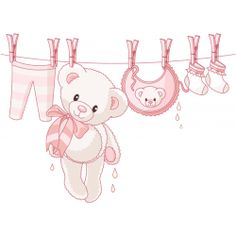 Sticker Ourson naissance Fille rose