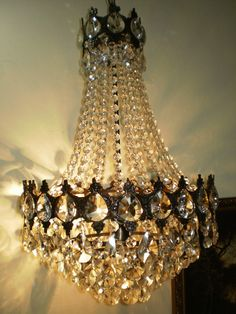 "Vintage 16""  Antique Brass crystal Chandelier Lighting Unique French!! 1950s by WORLDSALESLIGHT on Etsy https://www.etsy.com/listing/204658552/vintage-16-antique-brass-crystal"