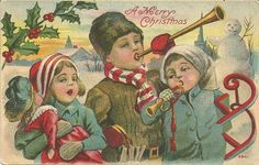 Christmas Children Toys Vintage Postcard #Christmas