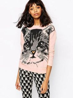 Womens Clothing Websites - 816621 - Pink Pullover Sweater Round Neck Long Sleeve Cat Printed Knit Top