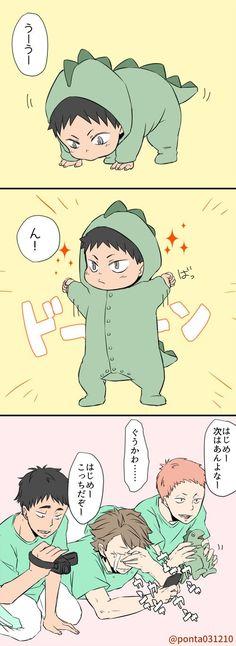 chibi!iwaizumi, godzilla costume, matsukawa, hanamaka, oikawa, 前にもこんなの描いたけど。はじめちゃんの初めてのたっち。  http://www.pixiv.net/member_illust.php?mode=manga&illust_id=53233027