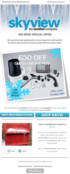 Skyview eNews November 2014: Mid-Week Treat - £50 off the Davis Cabled Vantage Pro2 Weather Station