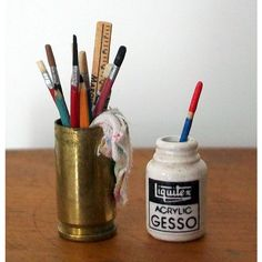 Miniature Gesso Jar and Can of Brushes (1 inch dollhouse scale) ($11) ❤ liked on Polyvore