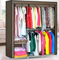 Clothes Closet Organizer Storage Rack Portable Wardrobe Clothing Hanger Armoires Handmade Modern