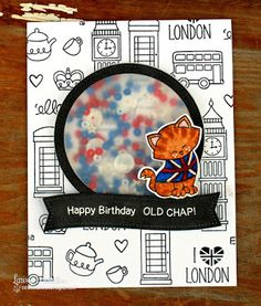 London Birthday Shaker Card by Larissa Heskett | Newton Dreams of London 4 x 6 Cat Stamp set by Newton's Nook Designs #newtonsnook #london