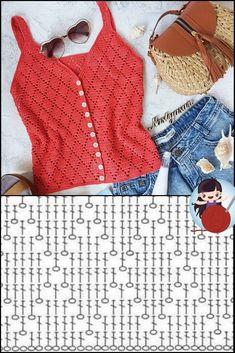 Crochet Tank Tops, Crochet Summer Tops, Crochet Shirt, Crochet Cardigan, Crochet Lace, Free Crochet, Crochet Bikini, Crochet Diagram, Crochet Stitches Patterns