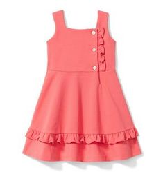 Girl Coral Ruffle Ponte Dress by Janie and Jack Baby Girl Frocks, Frocks For Girls, Little Girl Dresses, Girls Dresses, Toddler Girl Dresses, Girls Frock Design, Baby Dress Design, Baby Girl Dress Patterns, Baby Frocks Designs