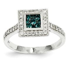 14k White Gold Blue and White Diamonds Square Ring - QGY11931AA - KevinJewelers.com