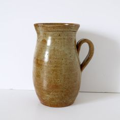 Antique 19th C French pitcher Pot Yellow Terra Cotta  Glaze ~ Beautifully Aged ~