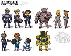 Concept art: X-COM UFO and Terror from the Deep, Humans in Personal Armour and Power Suits.