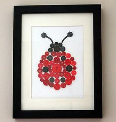 Ladybird Button Art/or thumb print like at the wedding to frame and hang up! Hobbies And Crafts, Fun Crafts, Diy And Crafts, Crafts For Kids, Arts And Crafts, Button Art, Button Crafts, Button Moon, Ladybug Nursery