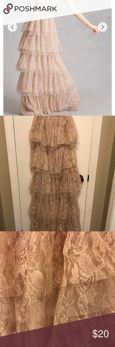 Forever 21 tiered floral maxi skirt taupe New with tags. Tried on. Pretty and posh Forever 21 Skirts Maxi