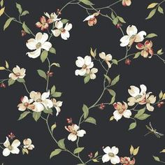 Dogwood Wallpaper, Black