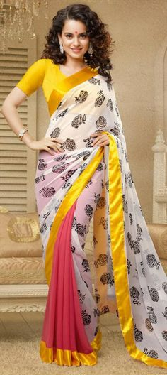127719, Bollywood sarees, Georgette, Lace, Printed, Pink and Majenta, White and Off White Color Family