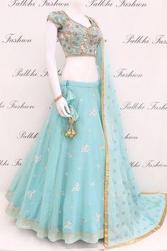 Lavish Sky Blue Full Flair Silk Chaniya Choli With Handwork Blouse - Maxi dresses - Indian Gowns Dresses, Indian Fashion Dresses, Indian Designer Outfits, Girls Fashion Clothes, Long Dresses, Maxi Dresses, Designer Dresses, Lehenga Choli Designs, Wedding Lehenga Designs