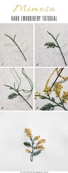 Embroidered spring miniatures: Mimosa. PDF pattern and tutorial