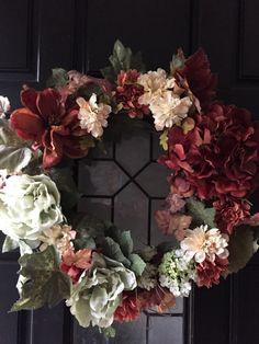 Fall Wreath, Autumn wreath, Hydrangea Wreath,Fall door wreath, Thanksgiving wreath, outside wreath, Fall decoration, Fall decor - pinned by pin4etsy.com