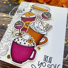 Paper Craft Supplies, Paper Crafts, Bee Crafts, Set Honey, National Coffee Day, Little Bit Of Love, Honey Bee Stamps, Image Stamp, Coffee Cards