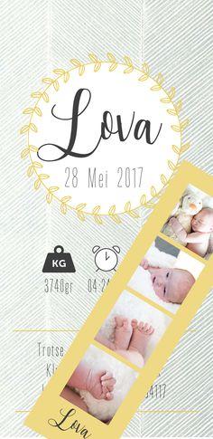 Handmade geboortekaartje #lova #Lindsey ontwerp en interieuradvies