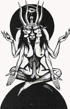 """Baphomet, comprising the Masculine and Feminine with both breasts and phallus. More importantly, notice the Eye of Horus, a powerful Magick symbol. Also, """"they"""" are seated on the Earth with heads (consciousness) reaching the Moon (as above, so below)."""