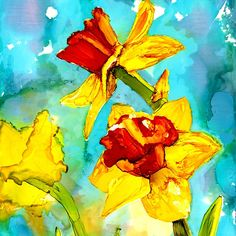 Spring - daffodils in alcohol ink painting